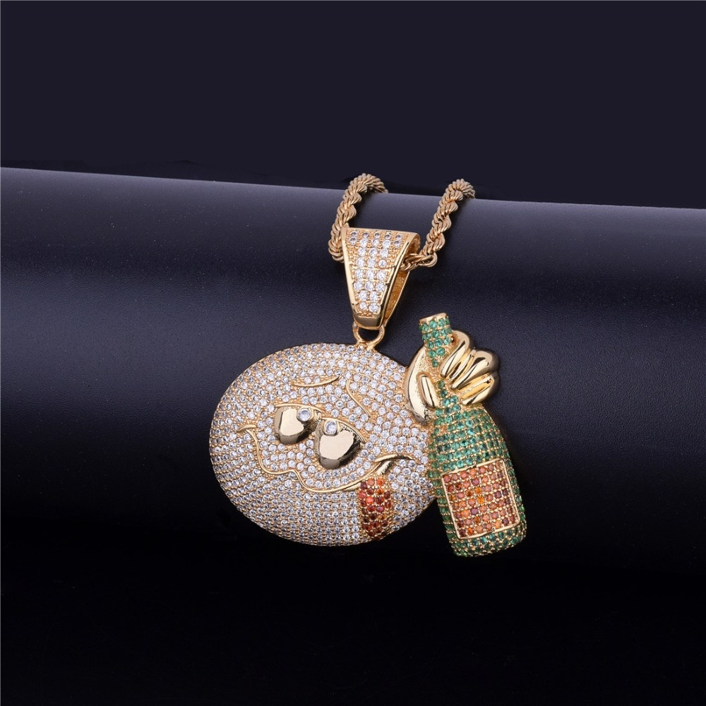 Iced Out Micro Pave Drunk Emoji Face With Wine bottle Bling Bling Pendant Chain Necklace