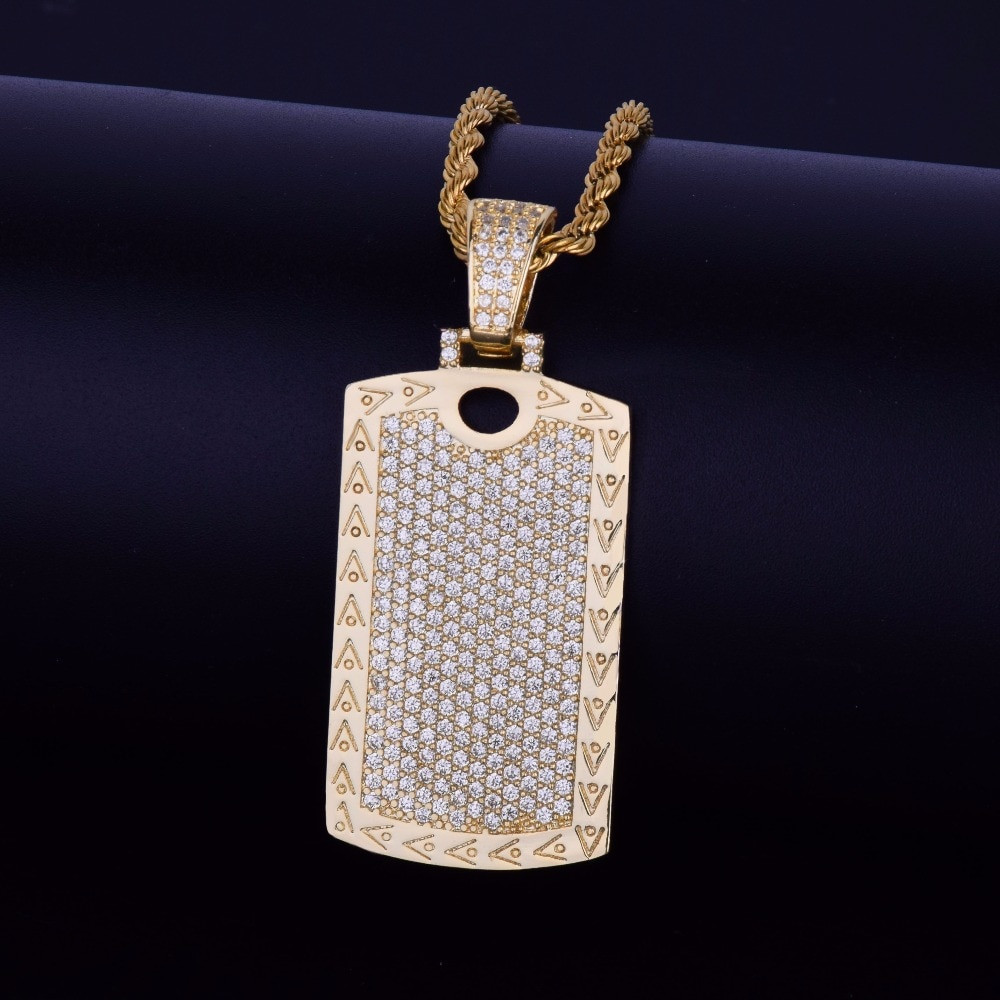 Micro Pave Lab Diamond Iced Out Cage Dog Tag Pendant Chain Necklace