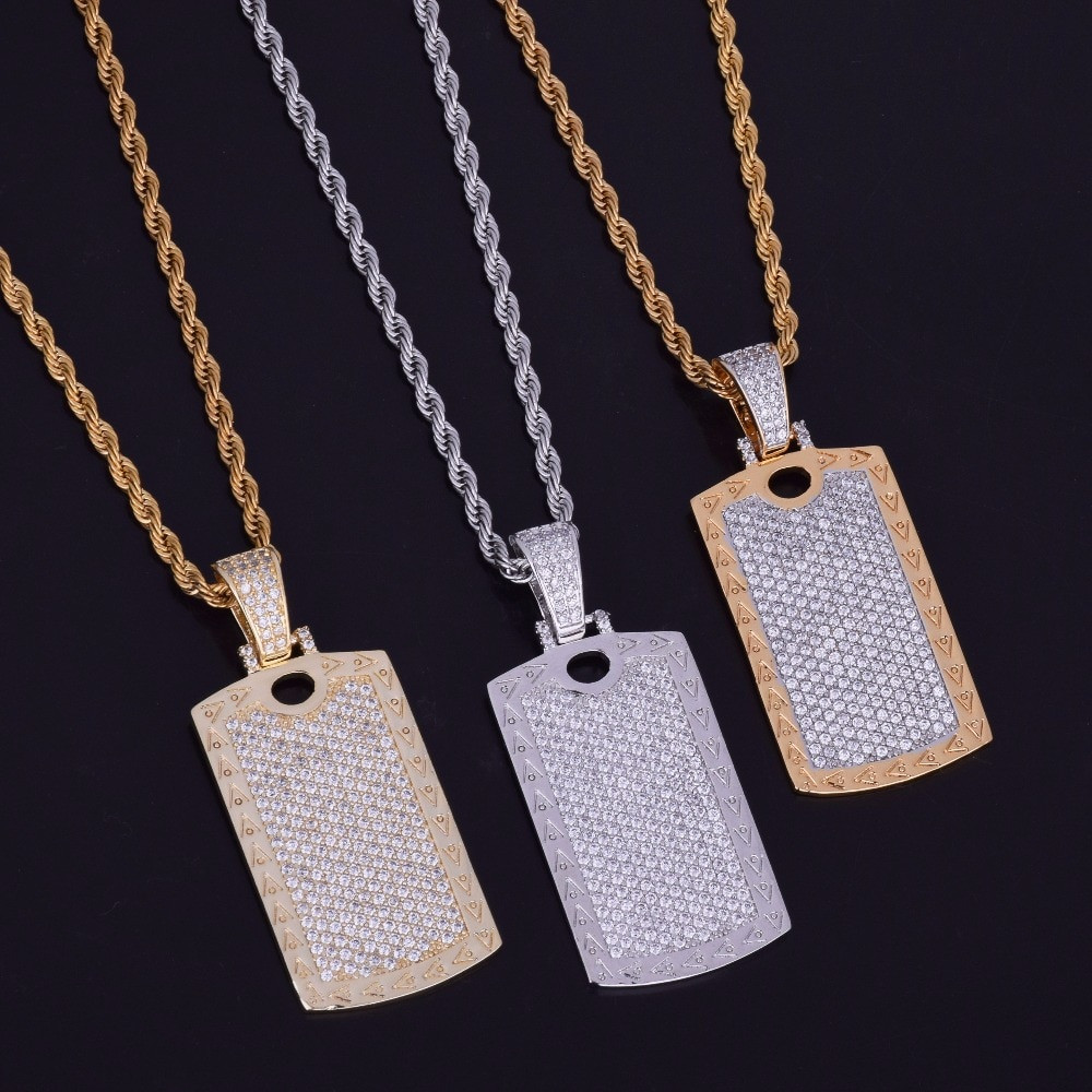 18k AAA Micro Pave Flooded Ice Cage Dog Tag Pendant Hip Hop Chain Necklace