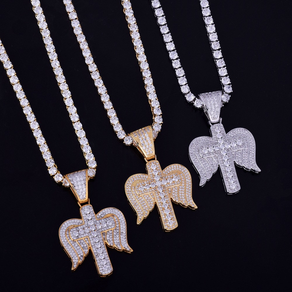 Religious Cross Angel Wings Necklace