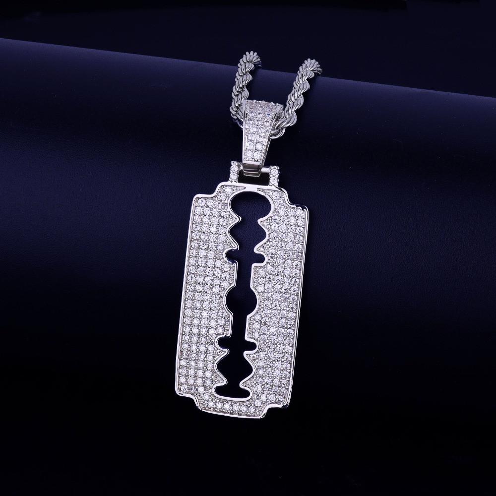 Men's Lab Diamond Micro Pave Razor Blade Pendant Chain Necklace