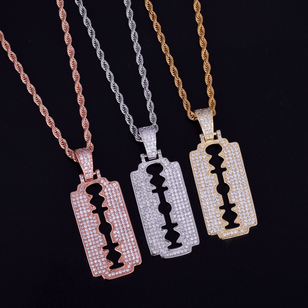 Flooded Ice Rose Gold .925 Silver Razor Blade Chains