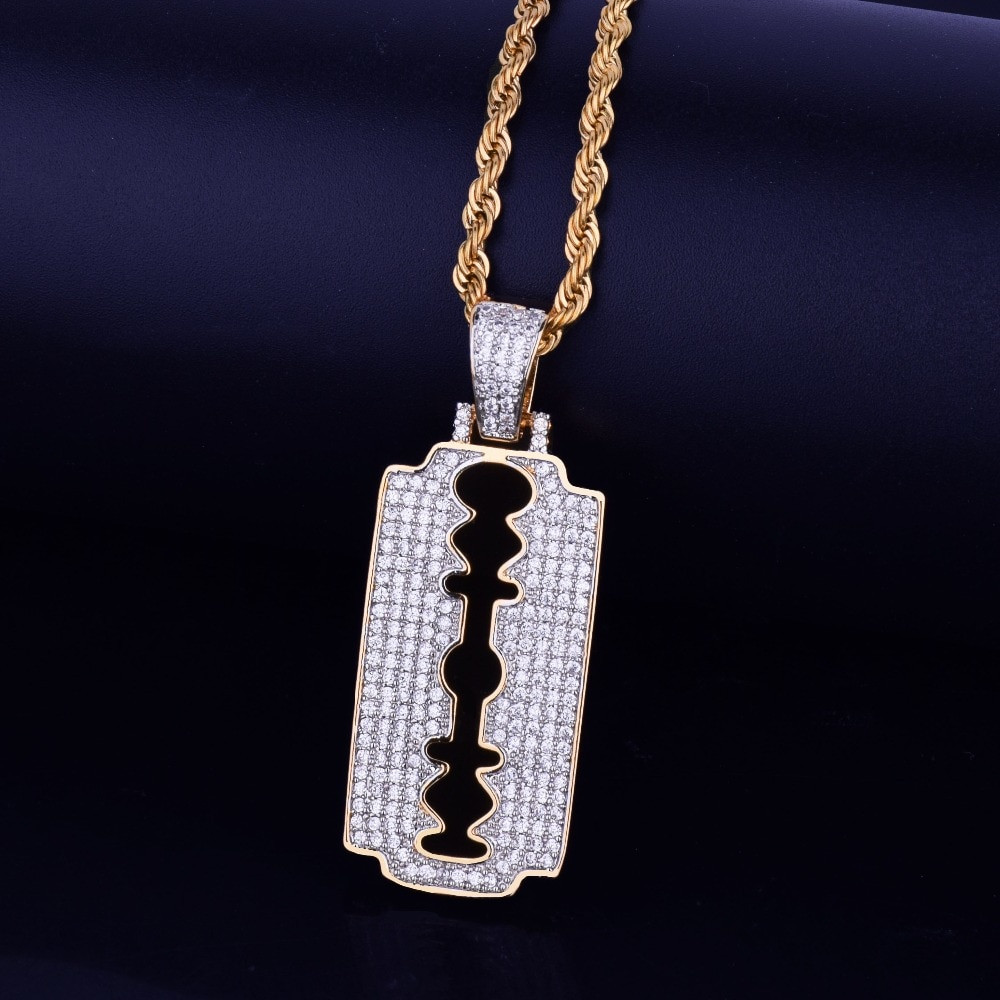 Flooded Ice 18k Gold .925 Silver Rose AAA Micro Pave Razor Blade Hip Hop Pendants Chain