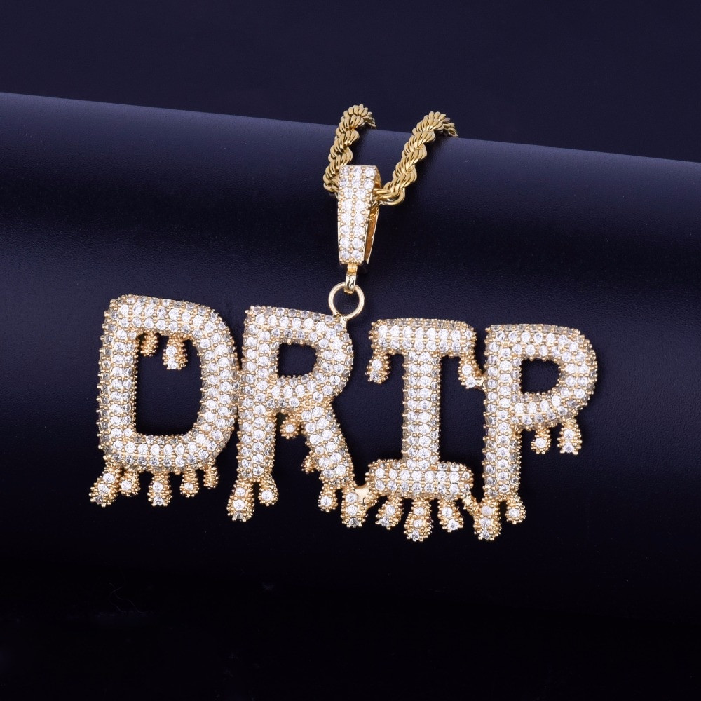 Custom Name Small Drip Drop Bubble Letters Pendant Chain Necklace