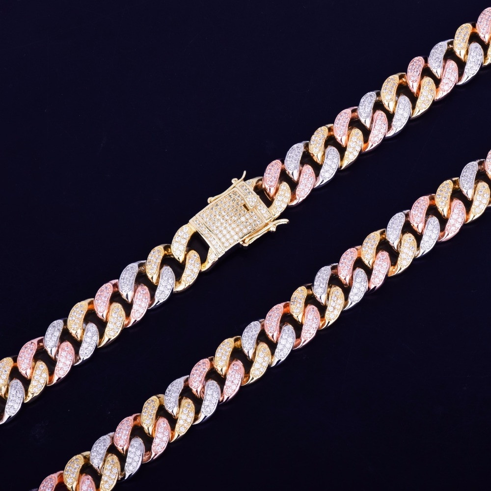 Rose Gold Silver 24k 12mm Mixed Color Cuban Link Hip Hop Chain Necklace