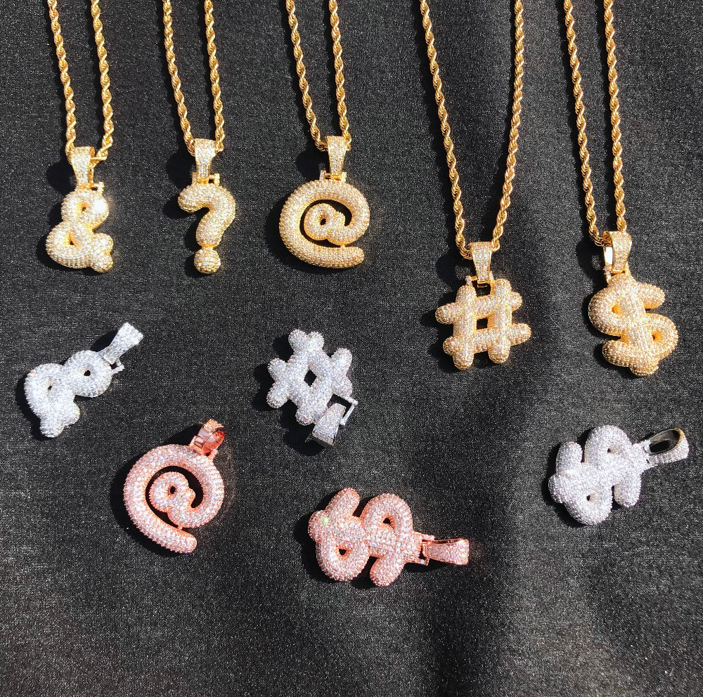 Silver 14k Rose Gold Iced Out Punctuation Custom Bubble Letters Hip Hop Pendants