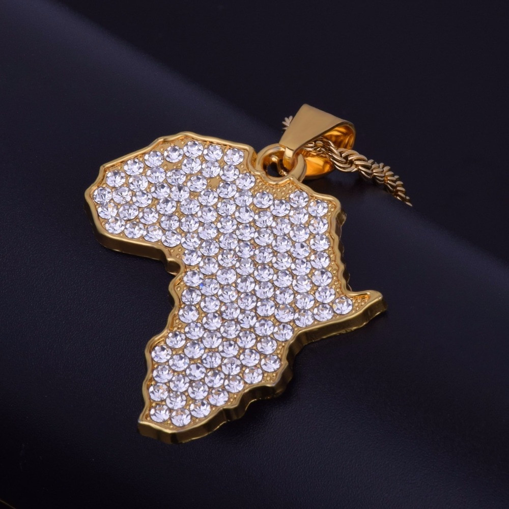 Lab Diamond Africa Map 14k Gold Bling Bling Pendant Chain Neckalce
