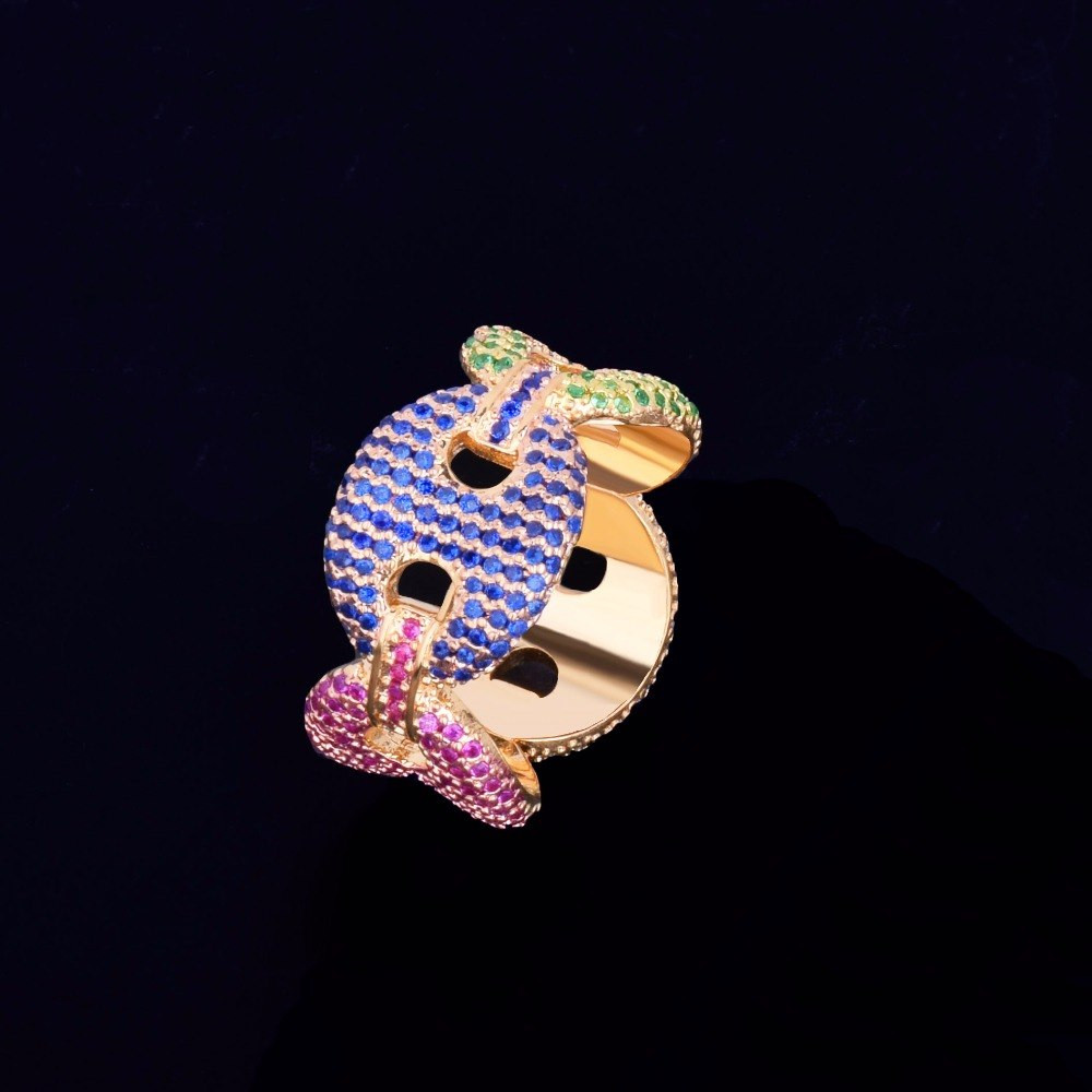 12mm Men's Colorful Ice Cuban Link Lab Diamond Micro Pave Rings