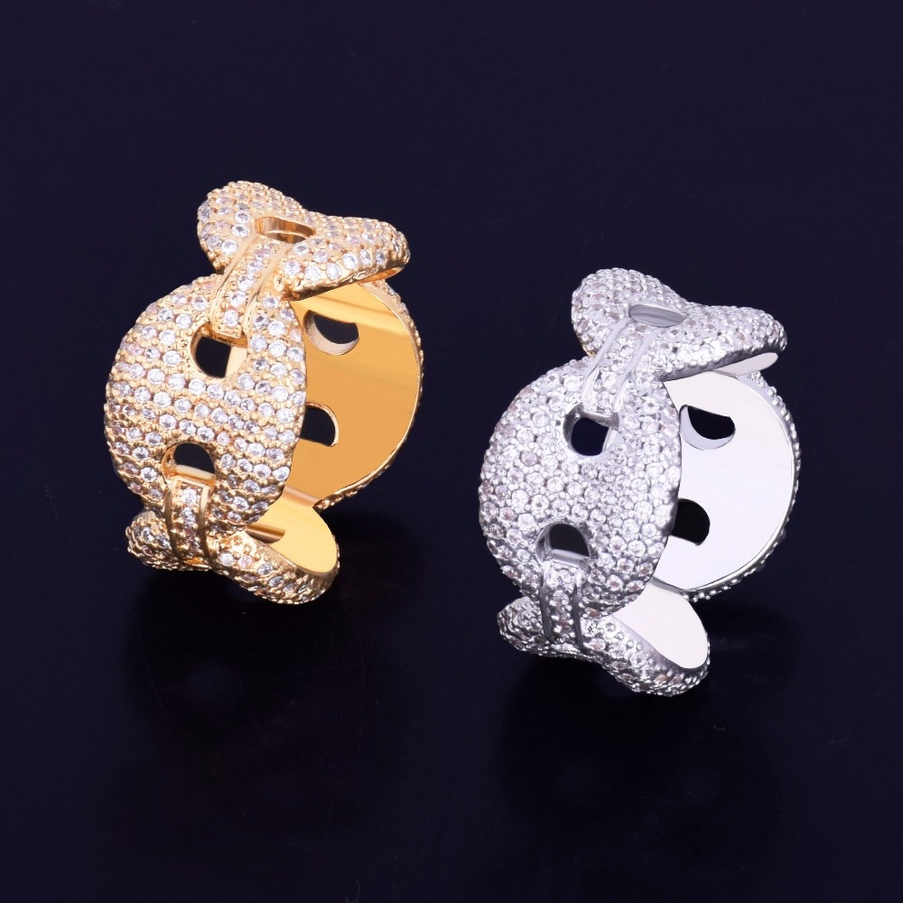 12mm Men's Colorful Ice G-Link Link Lab Diamond Micro Pave Rings