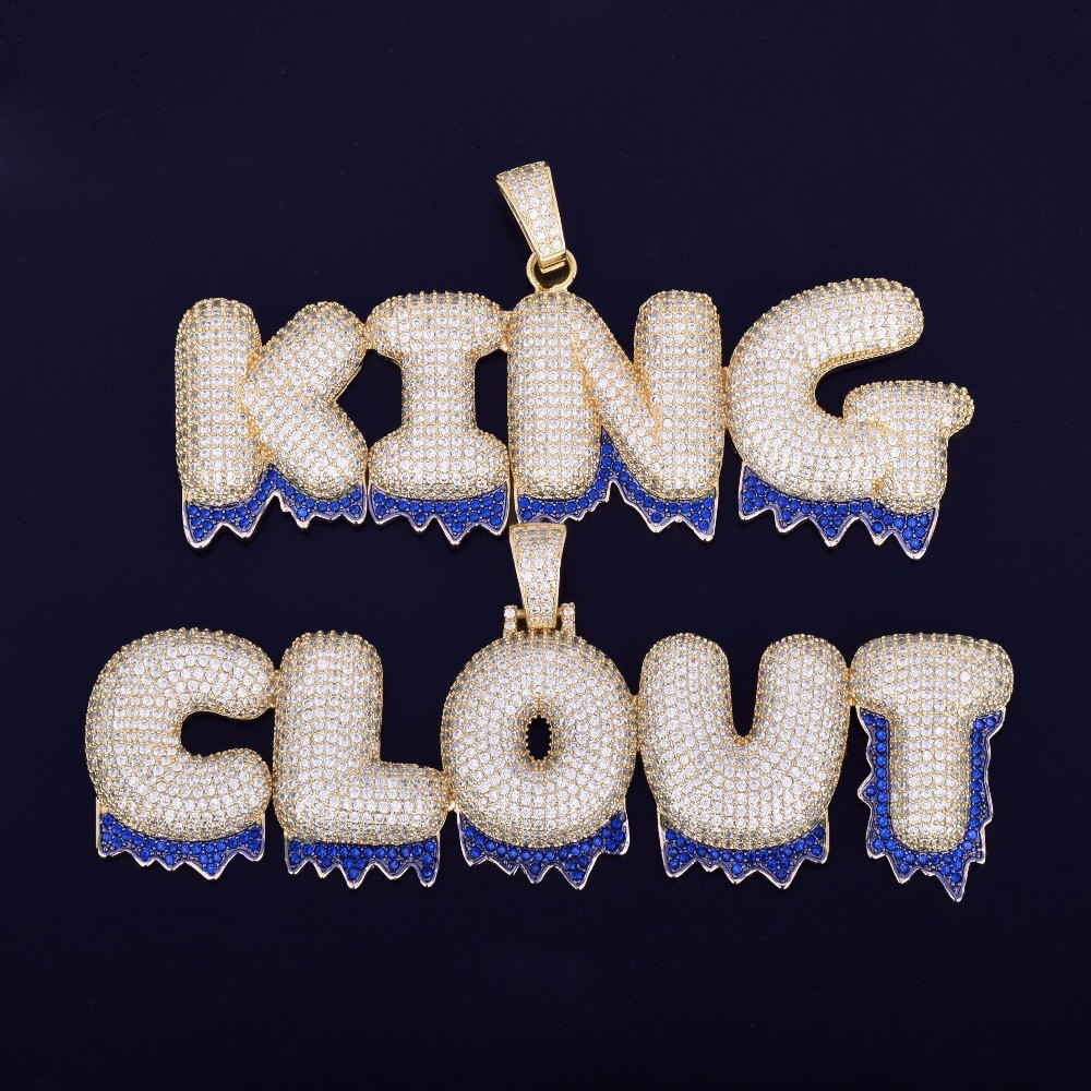 Iced Out Lab Diamond Custom Name Blue Drip Bubble Letters Pendants Chain Necklace