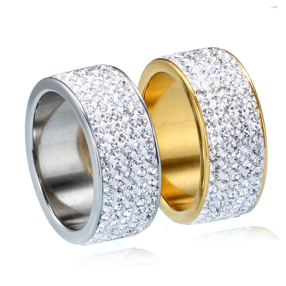 Hip Hop Full Lab Diamond Bling Iced Out Mens 14k Gold Silver Circle Stone Titanium Stainless Steel Ring