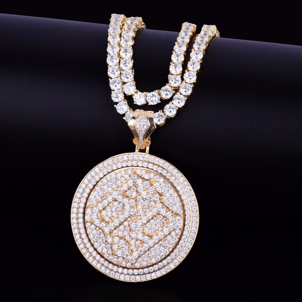 69 Iced Out Micro Pave Rotatable 14k Gold Silver Bling Pendant Chain Necklace