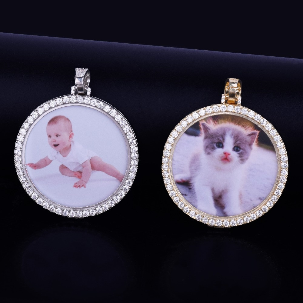 Iced Out Custom Made 14k Gold Silver Photo Medallion Pendant Chain Necklace