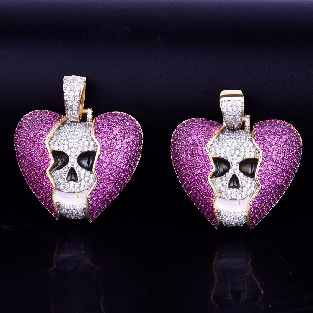 Broken Heart Skull Pendant
