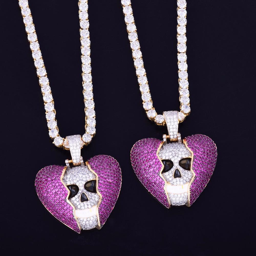 Micro Pave Broken Heart Skull 14k Gold AAA Lab Diamond Pendant Hip Hop Chain Necklace