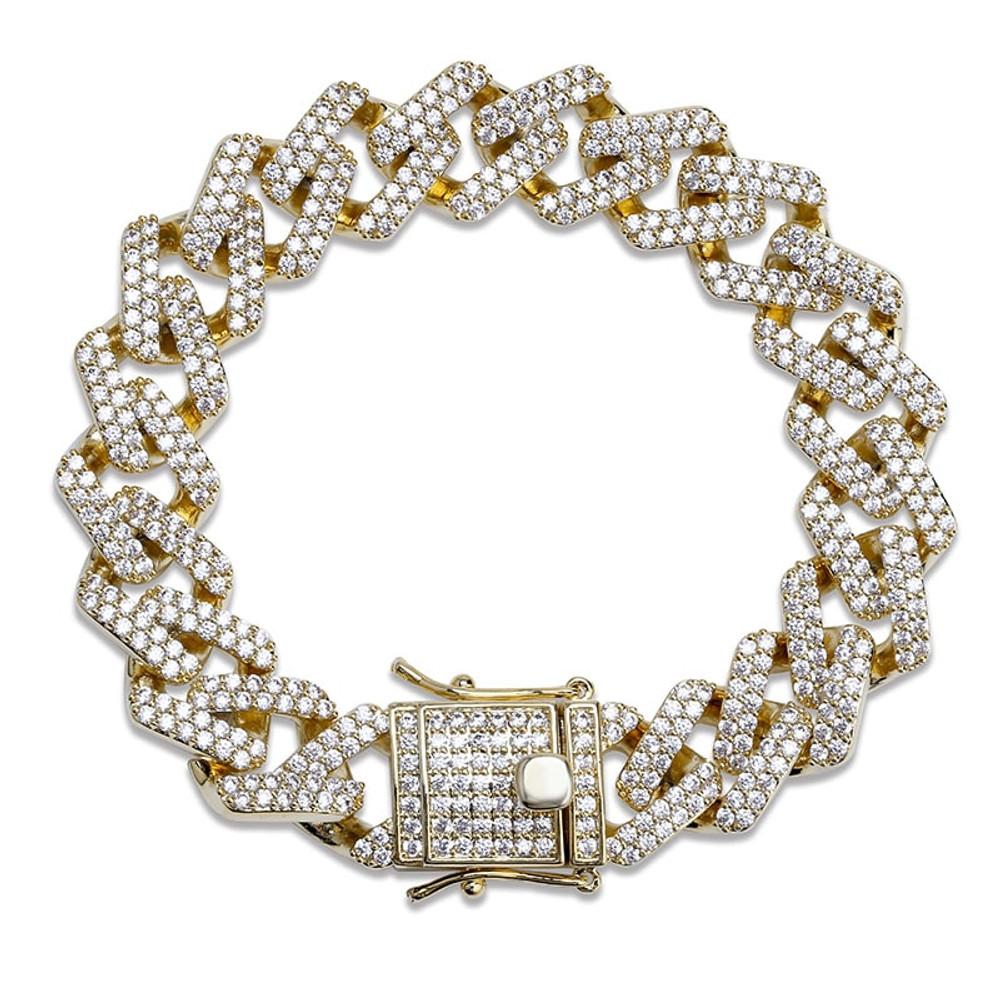 Mens Hip Hop Bling 14mm Wide Miami Curb Cuban Link Chain Bracelet