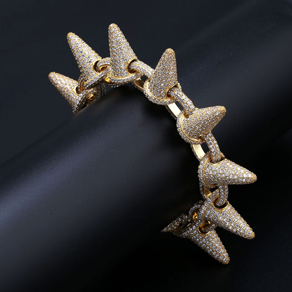 AAA Lab Diamond Micro Pave Stone 24k Gold Silver Rivet Spike Bracelet