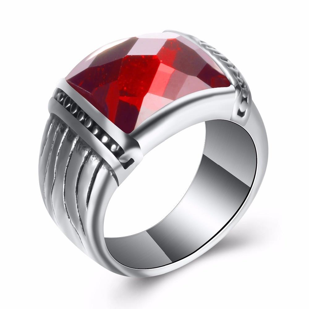 46802813024665 ... Black Red Natural Stone Classic Signet Square Titanium Steel Rings ...
