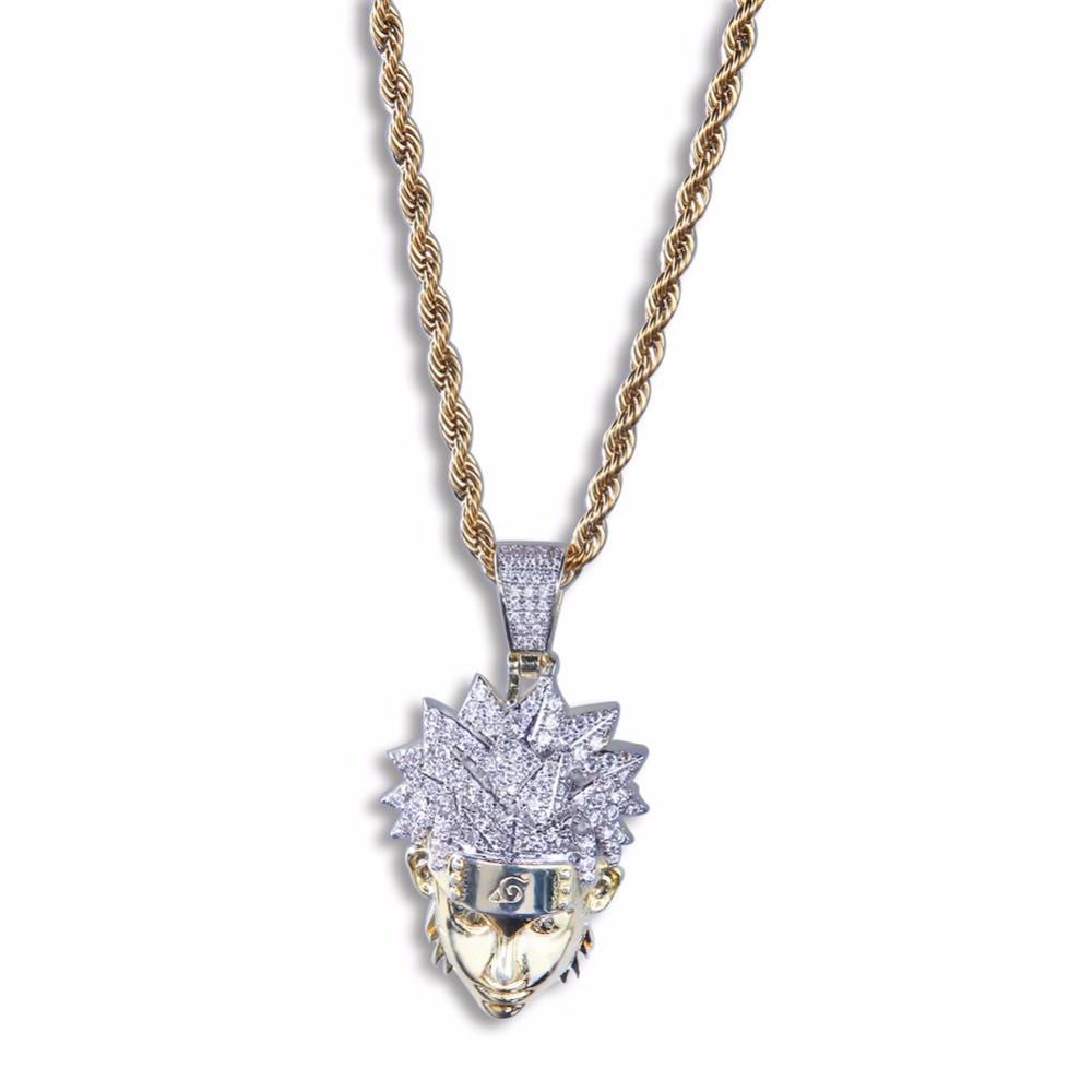 Hip Hop Full AAA Lab Diamond Iced Out Naruto Uzumaki Pendant Chain Necklace