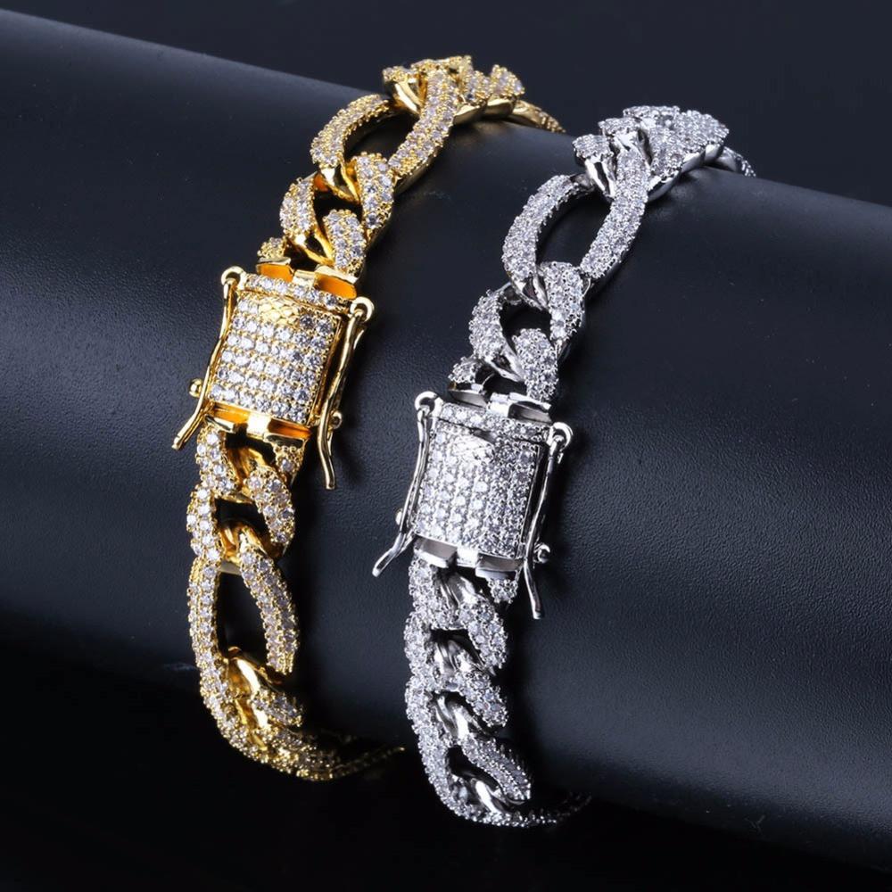 14k Gold Silver 10mm Box Lock Figaro Link Bracelet