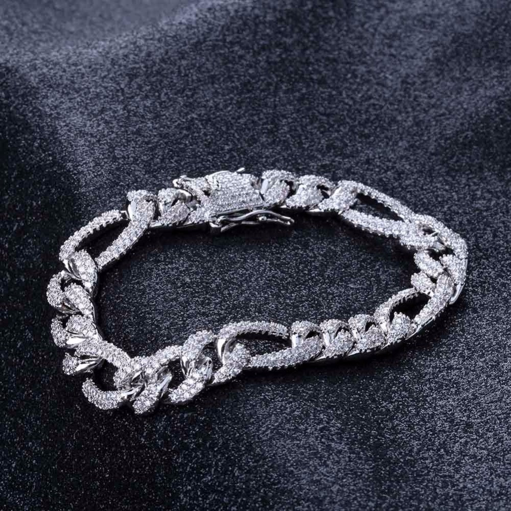 Mens 14k Gold Silver 10mm Box Lock Figaro Link Micro Pave Bling Bling Chain Bracelet