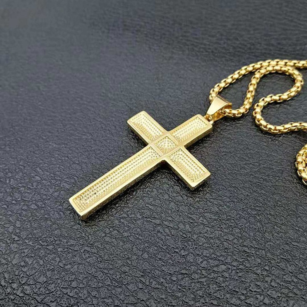 Men Christian Prayer Stainless Steel Jewelry 14k Gold Square Cross Pendant