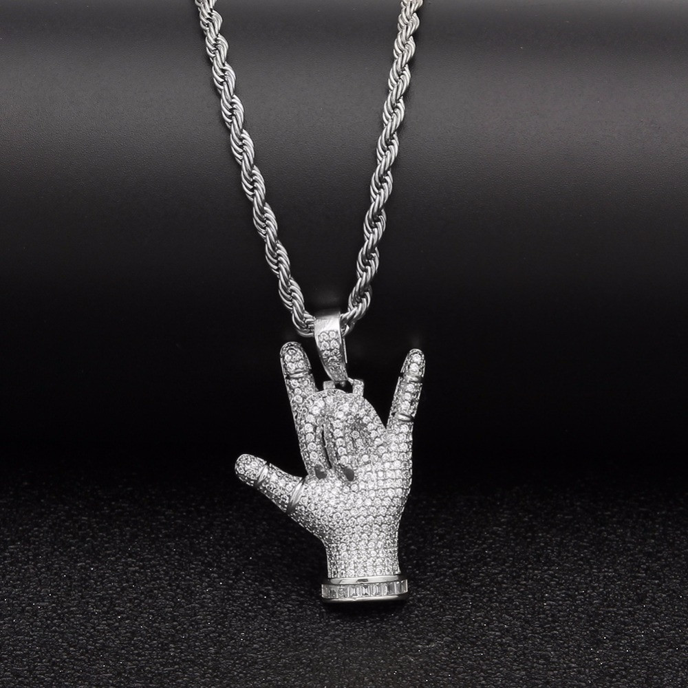Full AAA Lab Diamond Micro Pave Diamond I Love You Hand Sign Pendant Chain Necklace