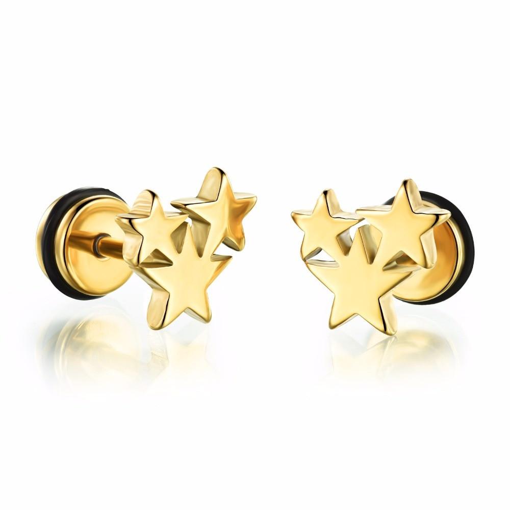 Super Star 14k Gold Silver 316L Stainless Steel Stud Earrings