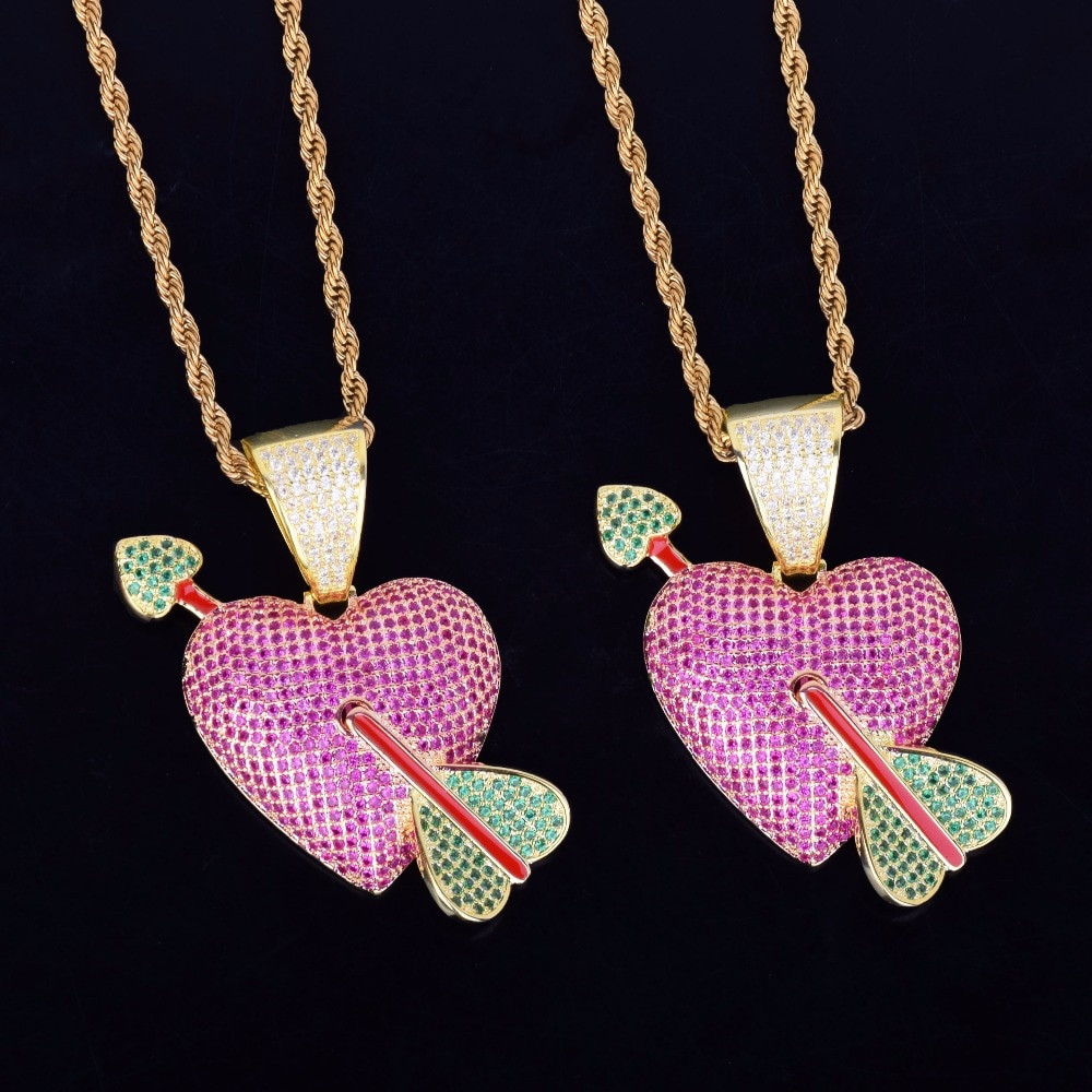 Lab Diamond Micro Pave Purple Heart Red Arrow Pendant Chain Necklace