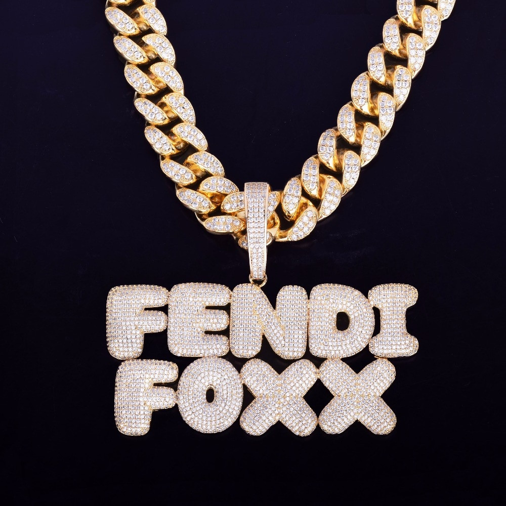 Mens 20MM Cuban Link Custom Name Bubble Letter Hip Hop Pendant Chain Necklace