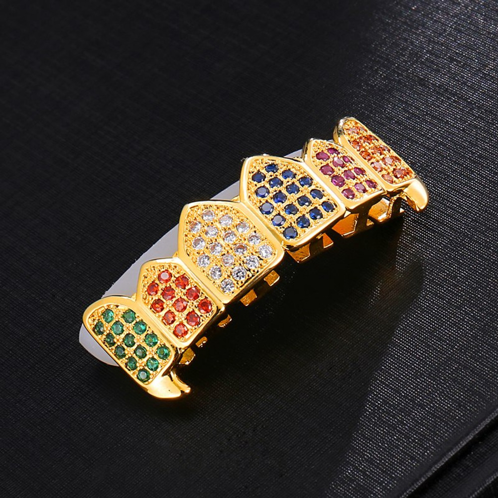 Hip Hop Bling Multi-Color Fang Lab Diamond Teeth Grillz Top Bottom 14k Gold Set
