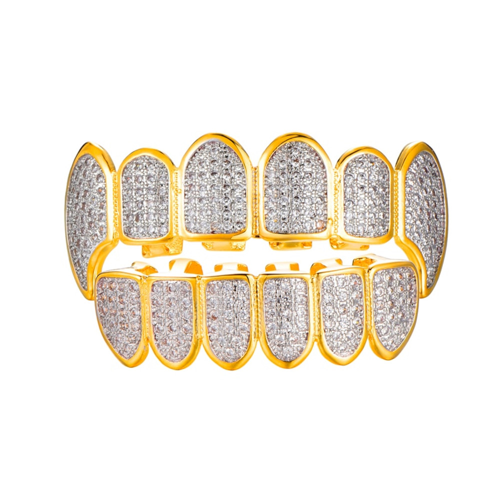 Iced Out 14k Gold Silver Micro Pave Lab Diamond Fang Teeth Grillz Top Bottom Set