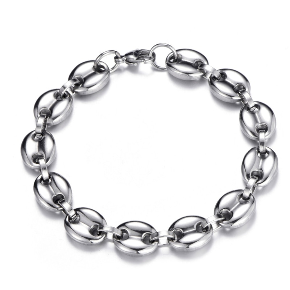 Hip Hop Width 11MM 20CM Stainless Steel 14k Gold Silver G-Link Bracelet