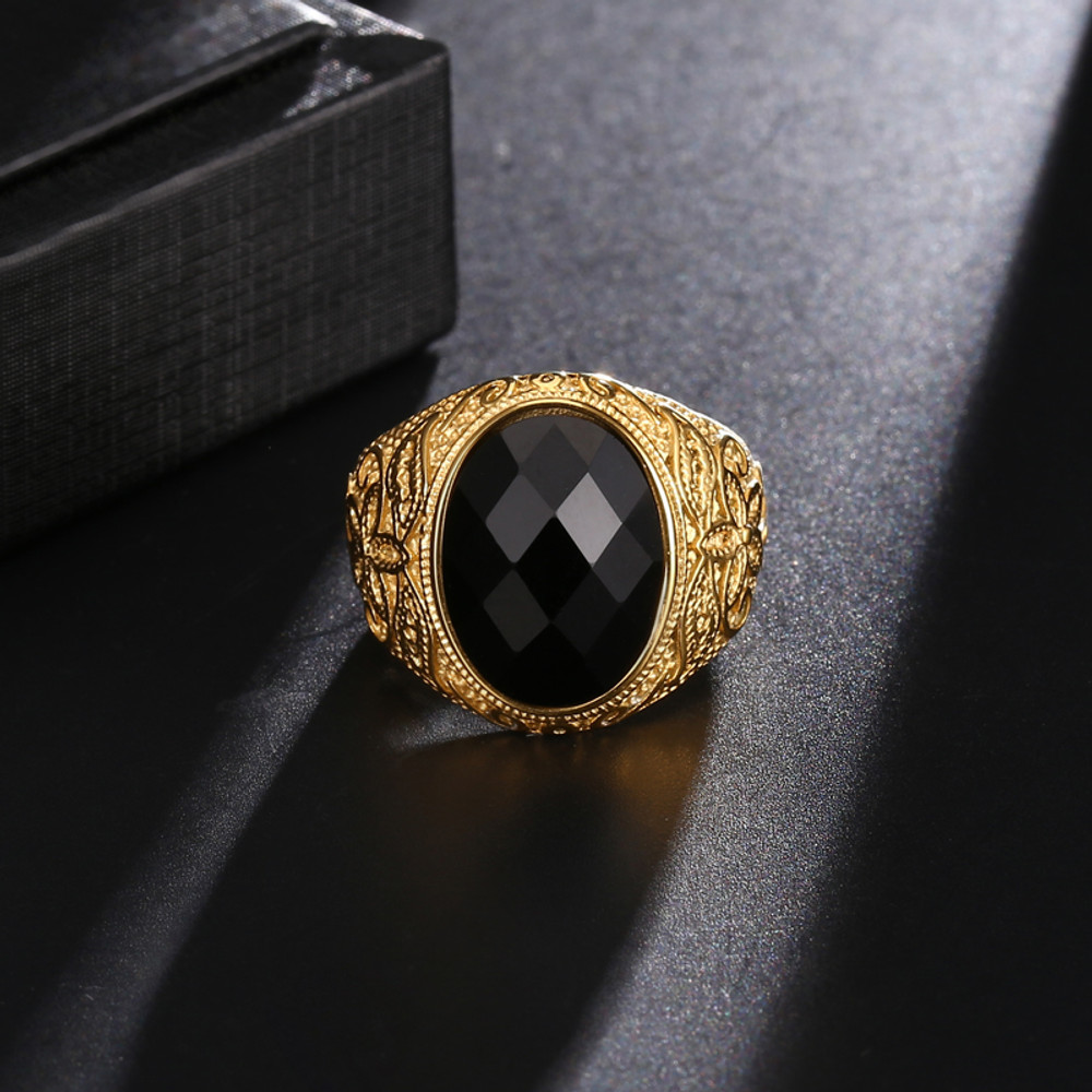 Mens Hip Hop 14k Gold Silver Stainless Steel Obsidian Natural Stone Hand Crafted Bling Ring