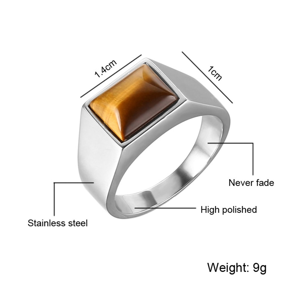 Hip Hop Silver Stainless Steel Natural Onyx Stone Square Bling Ring