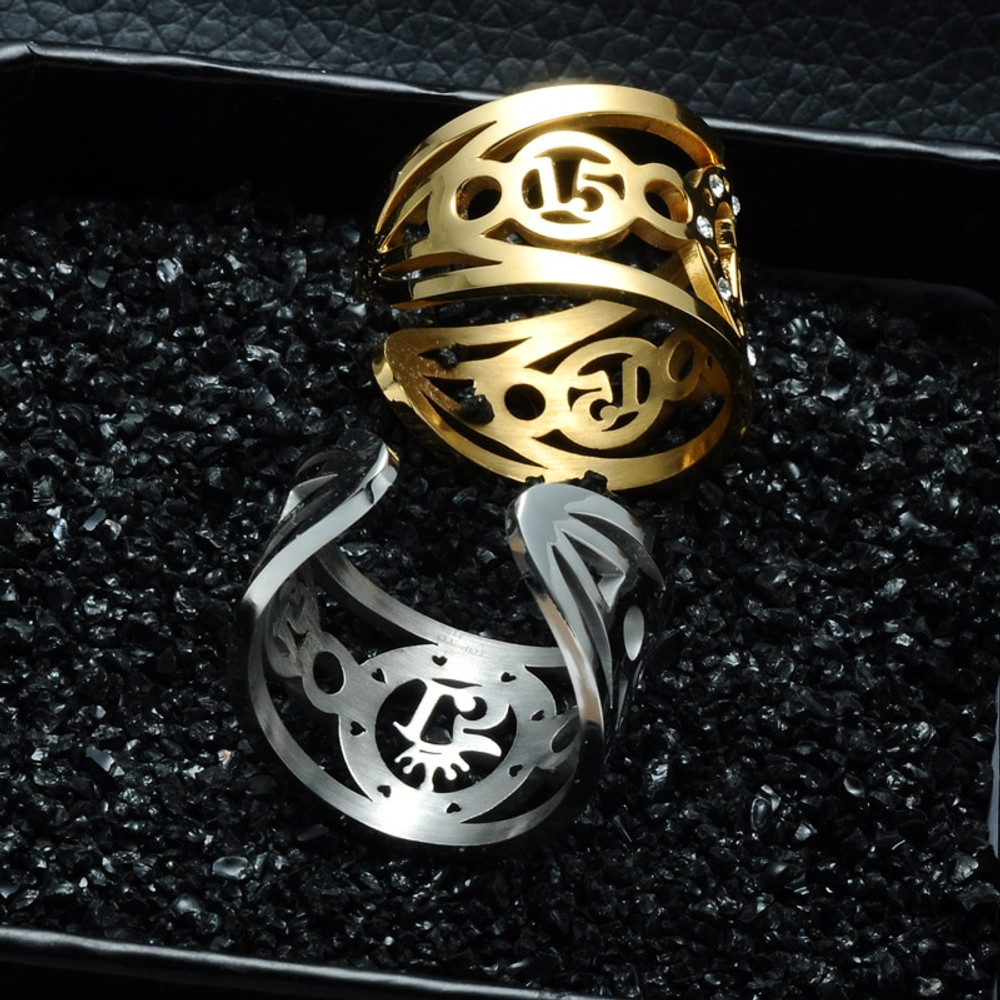 Hollow Engraved Sweet 15 Quinceanera Ring