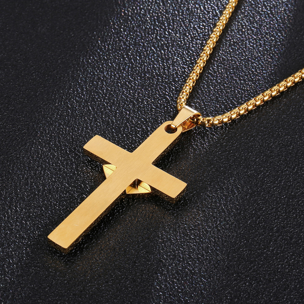 Spanish Prayer Love Heart Stainless Steel Cross Pendant Chain Necklace