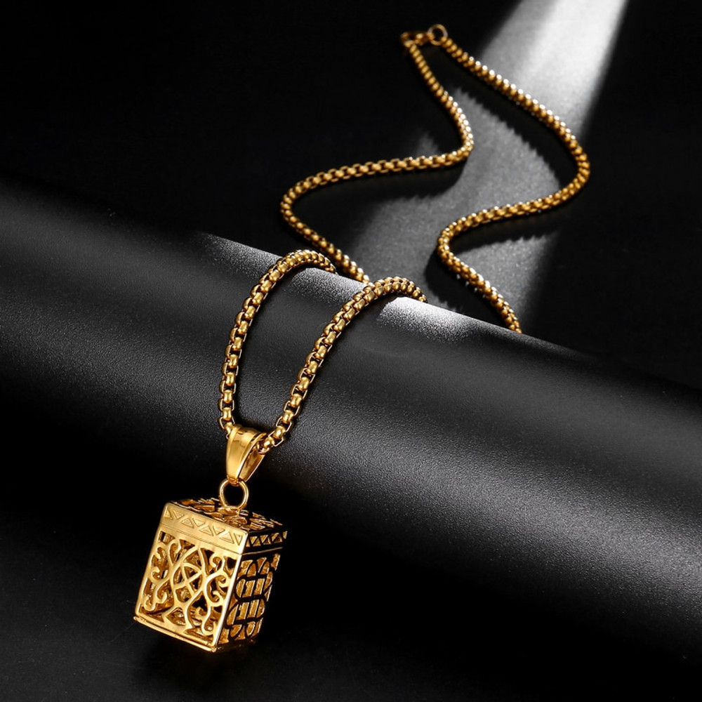 Filigree Box Pattern 14k Gold Silver Stainless Steel Dangling Pendant Chain Necklace