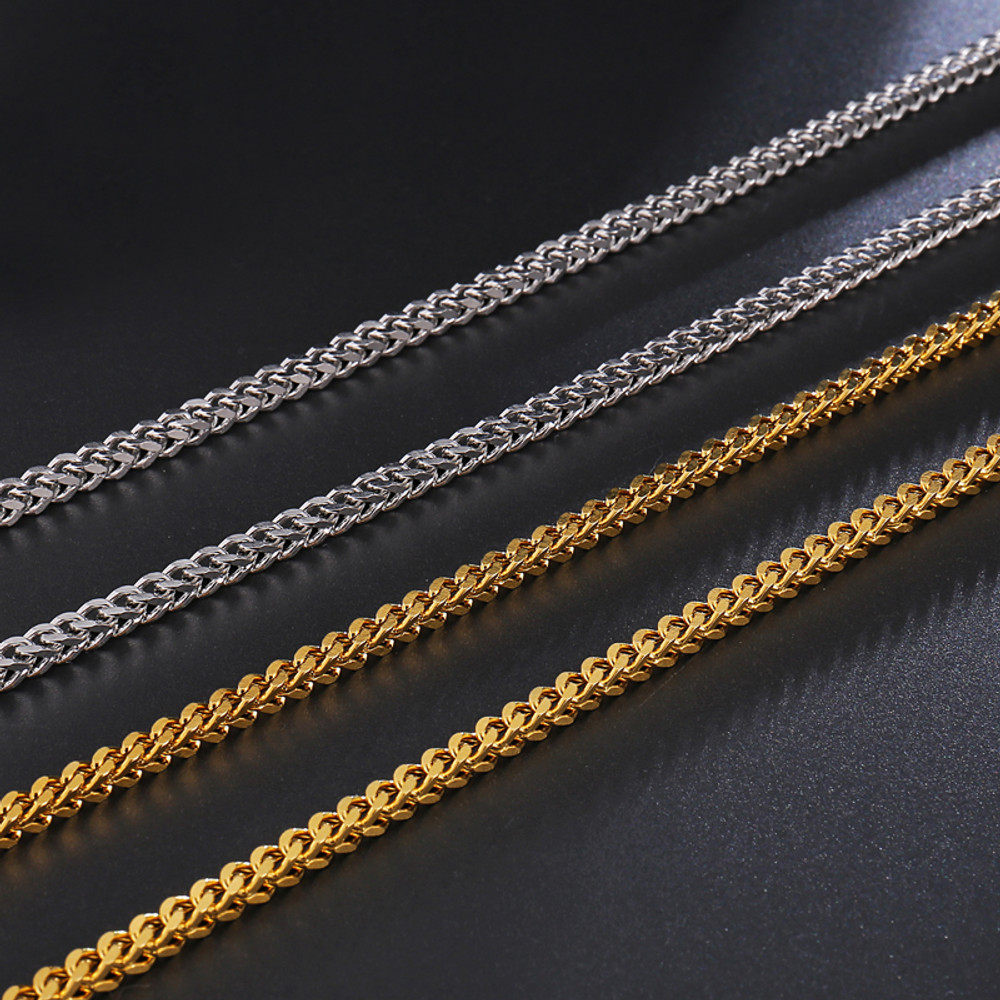 Hip Hop 3MM Titanium Stainless Steel 14k Gold Silver Franco Link Chain Necklace