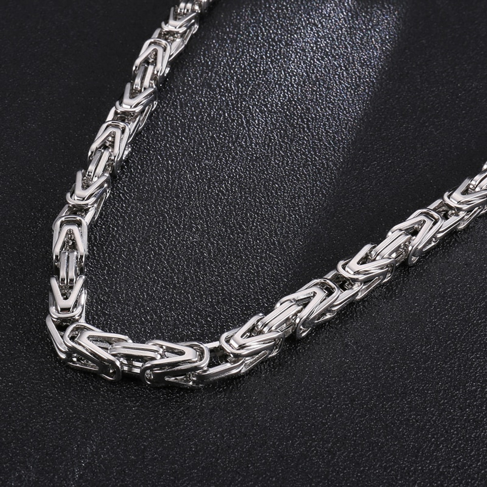 Mens Hip Hop 8mm Stainless Steel 14k Gold Silver Byzantine Link Chain Necklace