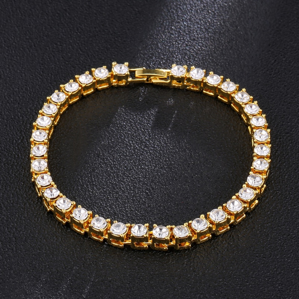 Black Silver 14k Gold Hip Hop Bling Iced Out Lab Diamond Tennis Chain Bracelet Tennis Chain Bracelet