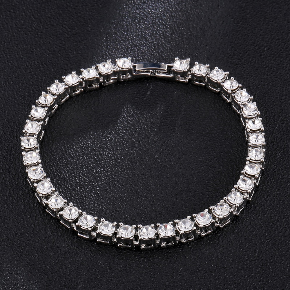 Black Silver 14k Gold Lab Diamond Tennis Chain Bracelet Tennis Chain Bracelet
