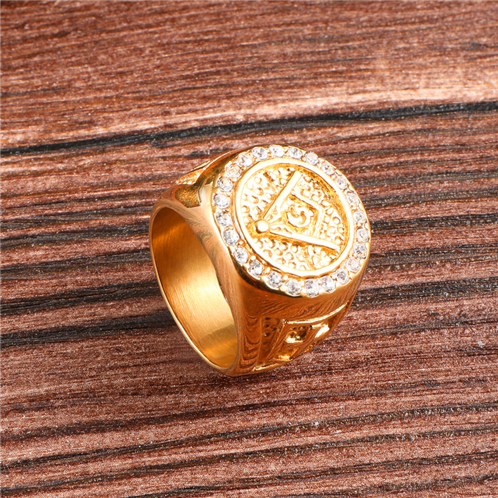 Iced Out Lab Diamond Masonic 14k Gold Stainless Steel Micro Pave Ring