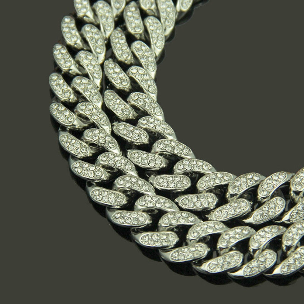 Hip Hop Full Lab Diamond Micro Pave Iced Out Miami Curb Cuban Link Chain Necklaces