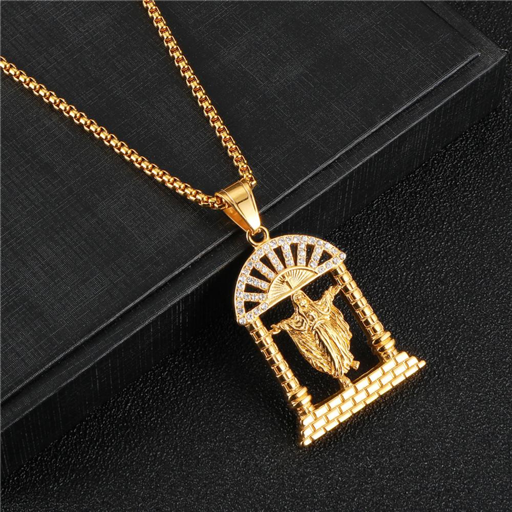 14k Gold Titanium Stainless Steel Heavens Gate Lab Diamond Hip Hop Bling Jesus Cross Pendant