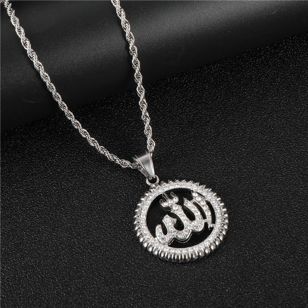 Iced Out Allah 14k Gold Silver Stainless Steel Bling Pendant Chain Necklace