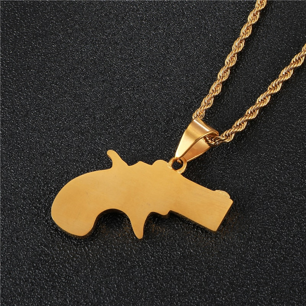 Iced Out Lab Diamond Snub Nose Stainless Steel 14k Gold Gun Pistol Pendant Chain Necklace