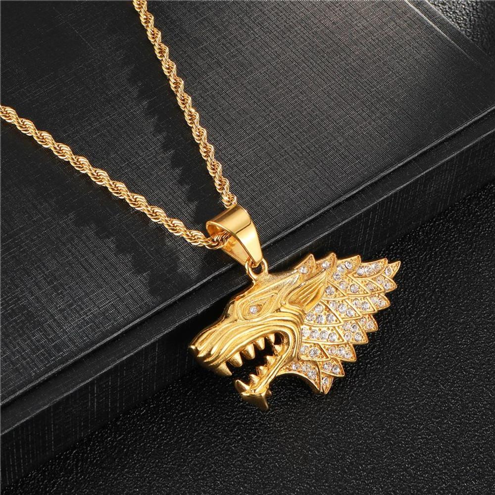14k Gold Wolf Pendant