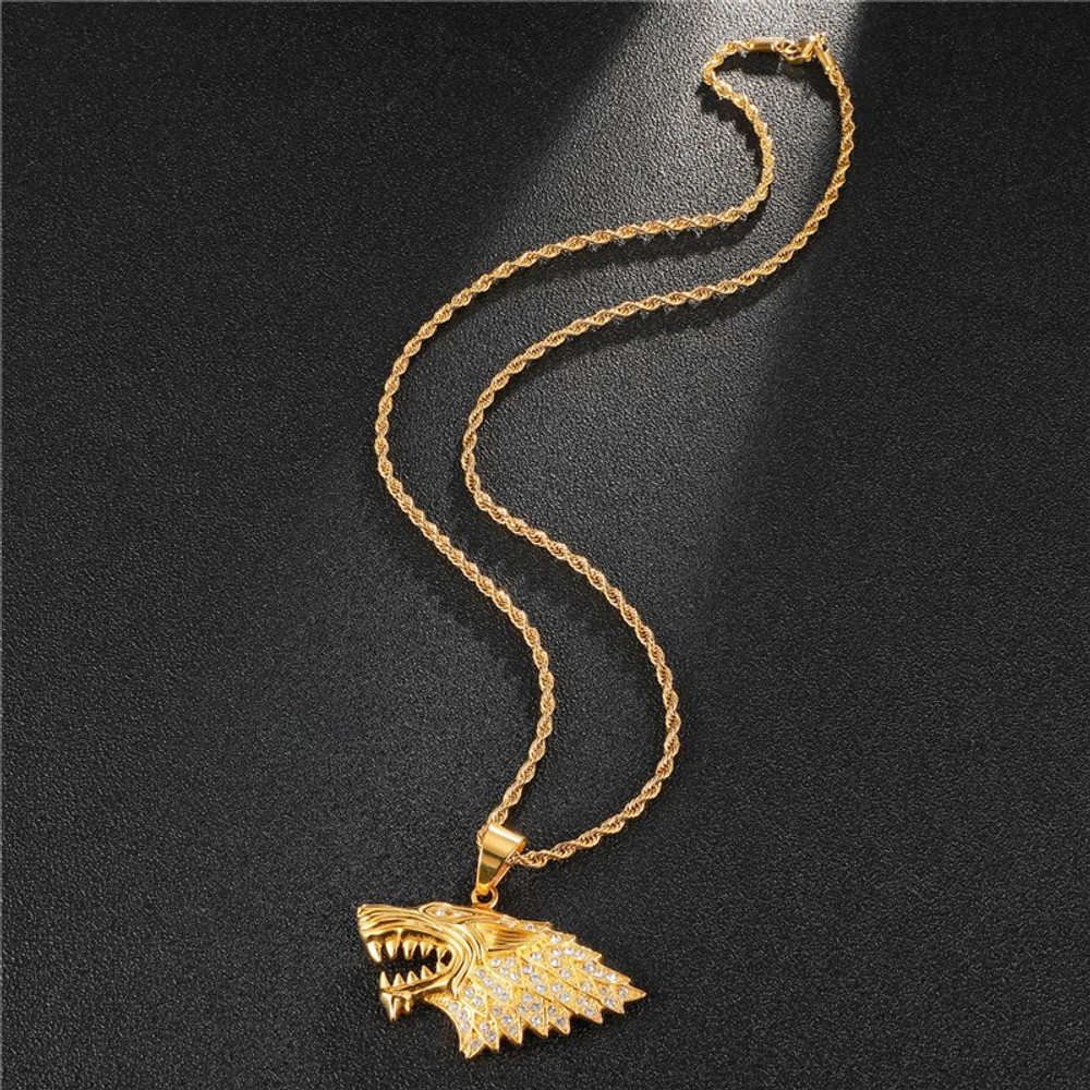 14k Gold Lab Diamond Big Bad Wolf Bling Iced Out Stainless Steel Pendant