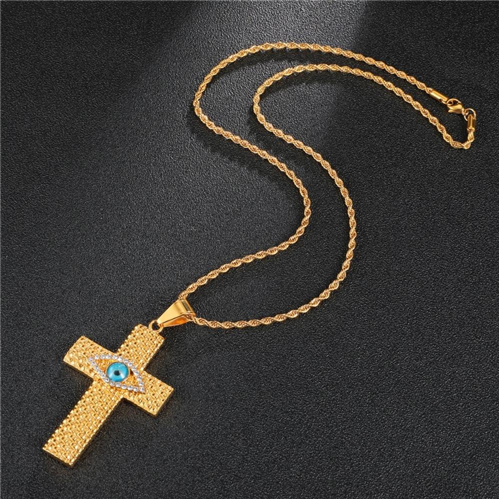 14k Gold Good Vs Evil Eye Cross Pendant Chain